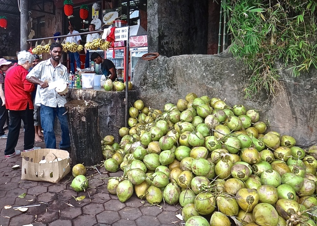 Fresh coconut near the Batu Caves in Kuala Lumpur, Malaysia