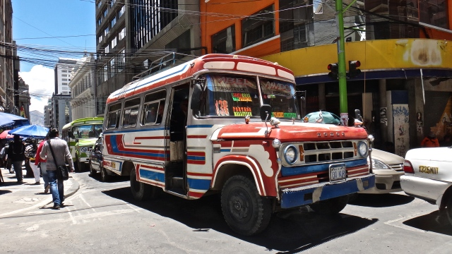 Affordable transportation in La Paz- these colorful microbuses run routes all over the city