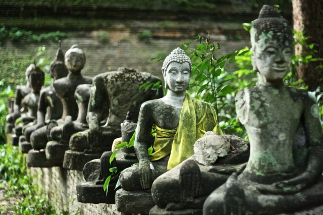 Collection of discarded statues at Wat Umong.