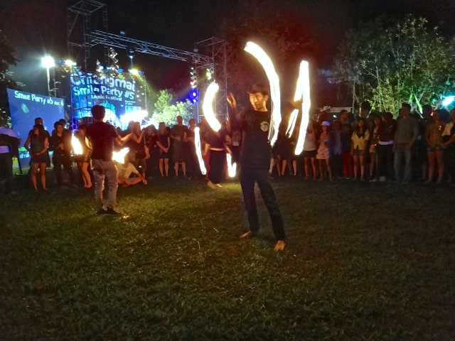 Fire poi - hardly a novelty in Thailand, but entertaining nonetheless.