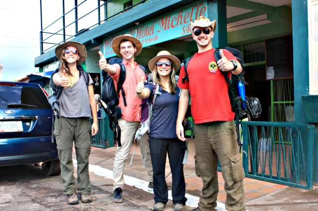 The Aldeas de Paz crew: Juliet, John, me, Josh.  Ready for ADVENTURE!